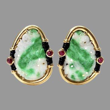 GIA Certified Large 18K Gold Natural Jadeite Jade Moss-in-Snow Ruby Onyx Earrings, Vintage/Antique