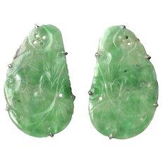 Antique Chinese Export Natural Jadeite Jade Earrings