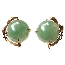 Vintage Natural Glassy Jade Dome-Shaped Cabochon 14K Gold Earrings