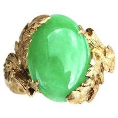 Art Nouveau-Inspired Natural Jadeite Jade 14K Gold Ring by Strellman