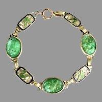 Art Deco 14K Gold Dragon Enamel Natural Jade Bracelet by Enos Richardson