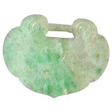 Antique Chinese Natural Jadeite Jade Lock Pendant