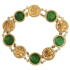 Antique Chinese Export 20K Gold and Jadeite Jade Coin Bracelet, Wang Hing