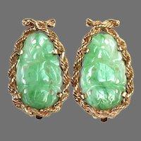 Vintage Large Natural Jadeite Jade 14K Gold Clip Earrings