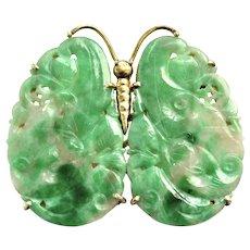Antique Natural Jadeite Jade 14K Gold Butterfly Brooch & Pendant