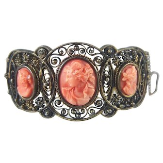 Art Nouveau Sterling Silver Coral Cameo Slide-in Cuff Bracelet
