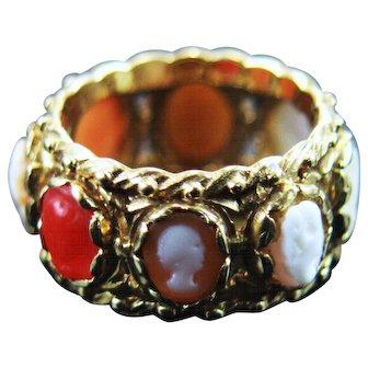 Vintage 14k Red Coral and Shell Cameo Slide Band Ring