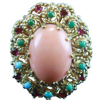 14k Angel Skin Coral Ruby Turquoise Ring