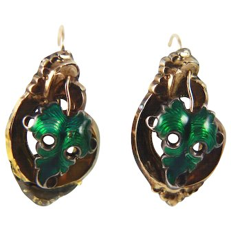 Victorian hollow-formed green enameled sterling scrolled leaf earrings