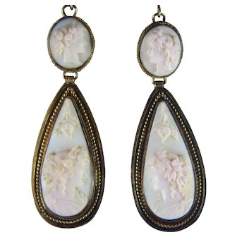 Victorian Pink Conch Shell Cameo Suspending Earrings