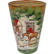 Stunning Hand painted Czechoslovakian Hunt Scene Large Vase