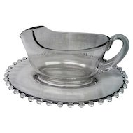 Vintage Imperial Elegant Depression Glass Candlewick Sauce Boat and under plate