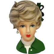 Large Vintage Head Vase with Green Bow