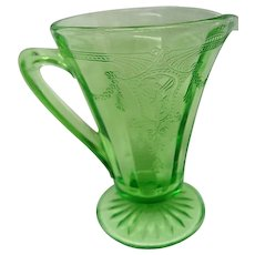 Green Cameo, Ballerina, Depression Glass Tall Footed Creamer