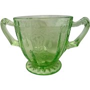 Green Depression Glass Cameo Ballerina Two Handled Footed Sugar