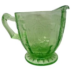 Green Depression Glass Footed Cameo Ballerina Creamer