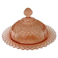 RARE Vintage Pink Miss American Covered Butter Depression Glass