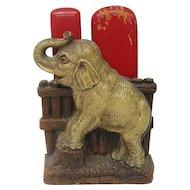 Syroco Wood Elephant Brush Holder