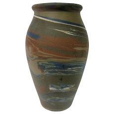 Tall Brown, Blue, And White Niloak Mission Vase