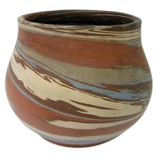 Squat Niloak Blue, Brown and White Mission Swirl Vase