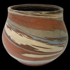 Squat Niloak Blue, Brown and White Mission Swirl Vase