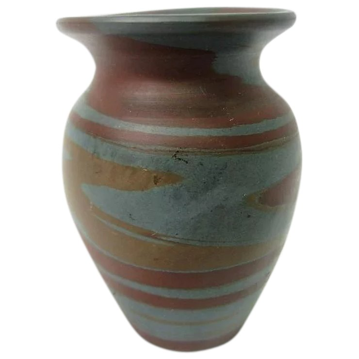 Blue And Brown Mission Swirl Short Niloak Vase Glass Onion
