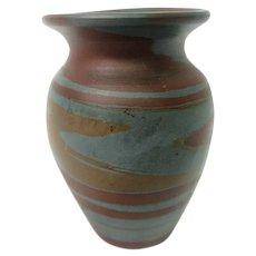 Blue and Brown Mission Swirl Short Niloak Vase