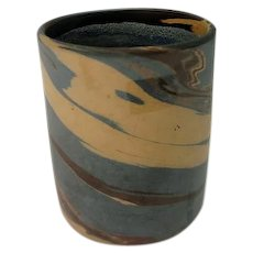 Brown, White and Blue Niloak Mission Swirl Cylindrical Vase