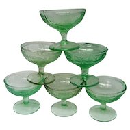Six Green Strawberry Depression Glass Footed Sherbets