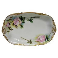 Large Hand Painted Rose Limoges Platter