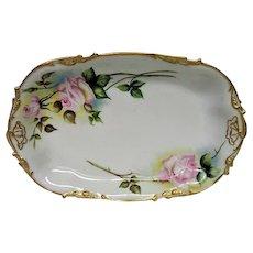 Large Hand Painted Rose Limoges Platter