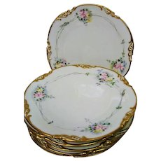 Six Hand Painted Limoges Rose Decorated Plates