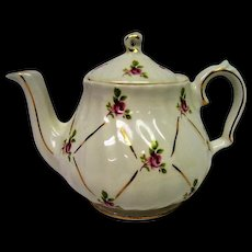 Hand Painted Rose Decorated Sadler Tea Pot