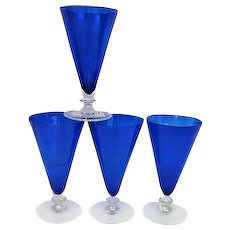 Four Morgantown Ritz Blue Footed Cotillion Ice Tea Goblets