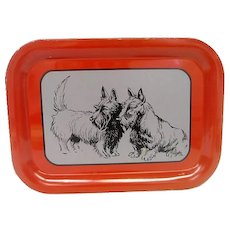 Metal Litho Scotty, Scotties Dogs Tray Red Trim