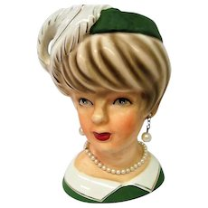 Lady Head Vase with Green Hat and White Feather