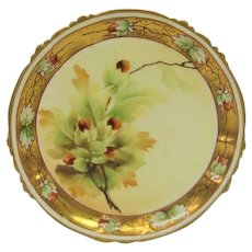 Hand Painted Pickard Acorn and Oak Leaves Scalloped Edge Plate