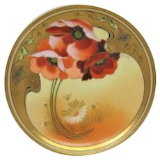 Hand Painted Pickard Poppy and Daisy Plate Artist Signed