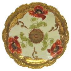 Hand Painted Pickard Red Poppy Plate