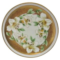Hand  Painted Pickard White Lilies Plate Artist Signed