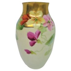 Hand Painted Pickard Nasturtium Vase Artist Signed
