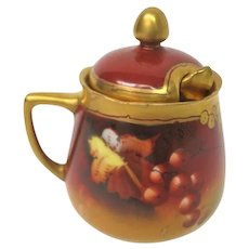 Hand Painted Pickard Currant Mustard Pot complete with spoon