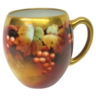 Hand Painted Pickard Large Handled Mug Currant Decorated
