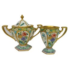 Hand Painted Pickard Footed Cream and Sugar Set Artist Signed