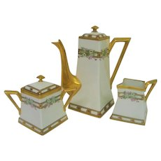 Hand Painted Pickard Square Shaped Floral Tea Set