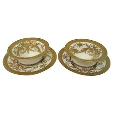 Two Hand Pained Gold Limoges Ramekins and Under Plates
