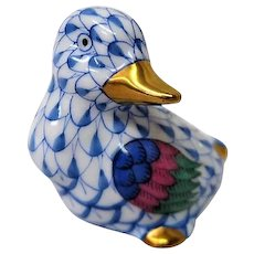 Hand Painted Herend Blue Fishnet Duck Figurine