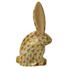Hand Painted Herend  Beige Fishnet Sitting Bunny Rabbit