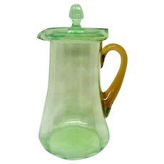 Green Depression Glass Lidded Lemonade Pitcher Amber Handle