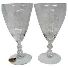 Two Fostoria Chintz Crystal Wine Goblets Stemware